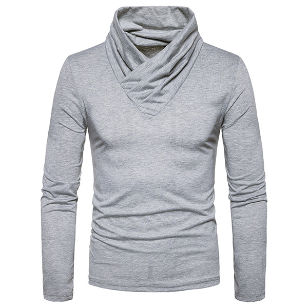 Mens Brief Style Pile Heap Collar Design Long-sleeved Warm Sweater