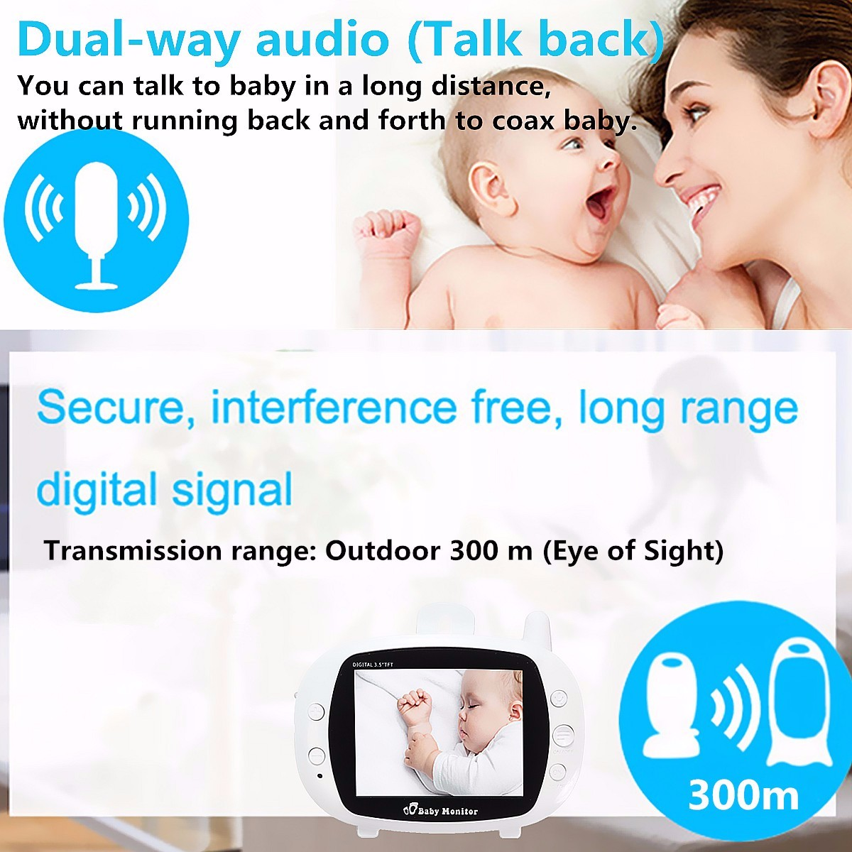 2.4G Wireless Digital 3.5 inch LCD Baby Monitor Camera Audio Talk Video Night Vision