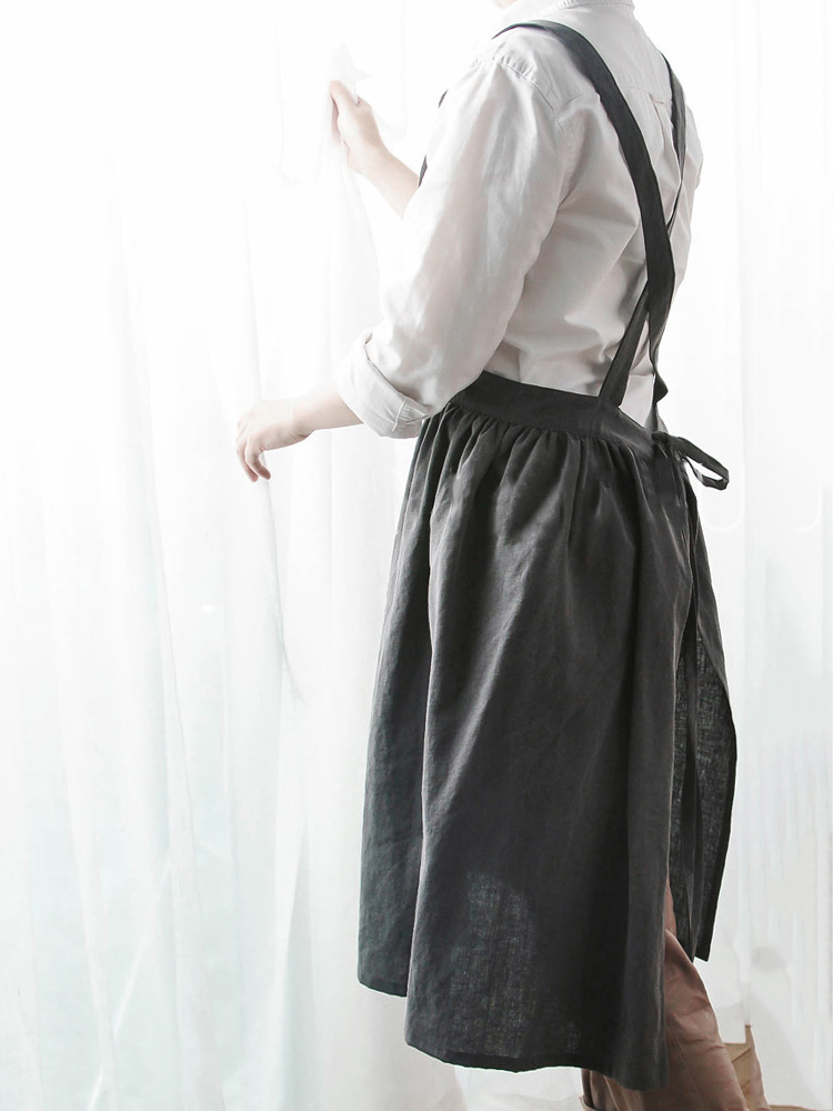 Japanese Style Retro Pure Color Cotton Linen Pleated Aprons