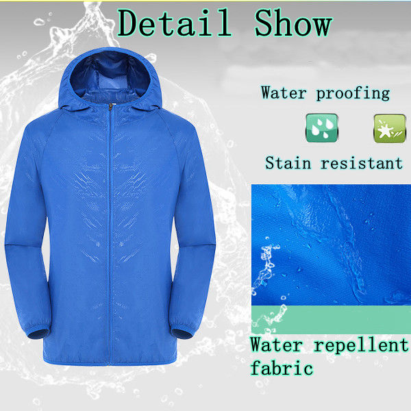 Unisex Outdoor Breathable Sunscreen Skin Coat Ultra Thin Beach Casual Sports Coat Trench