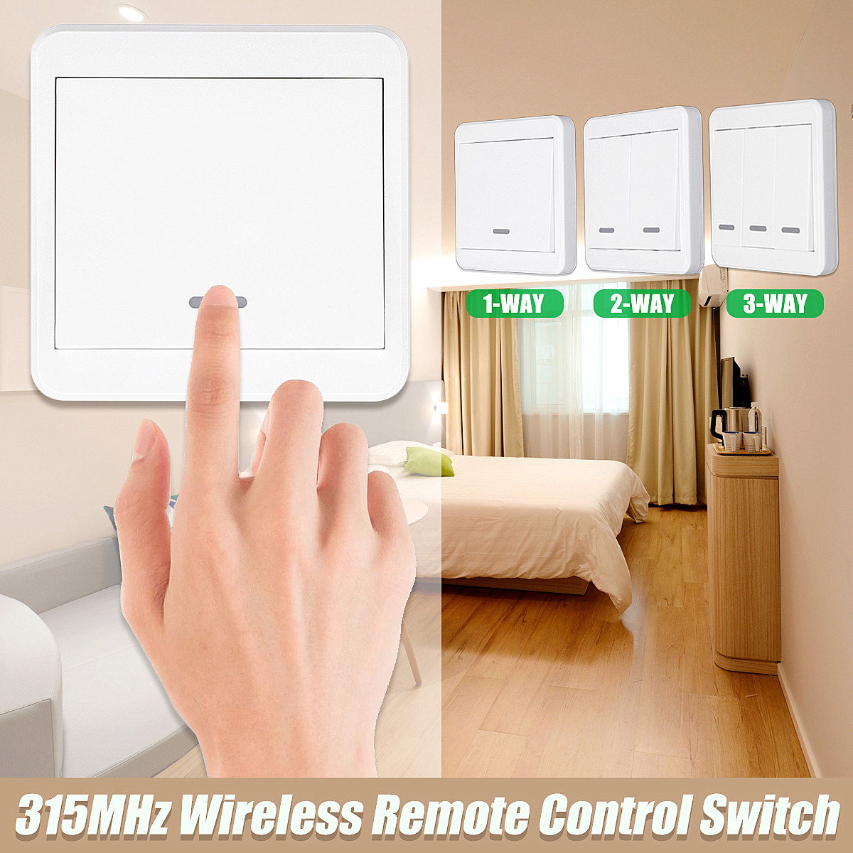 1/2/3 Way Push Button Switch Remote Control Switch 86 Wall Panel 315MHz Wireless