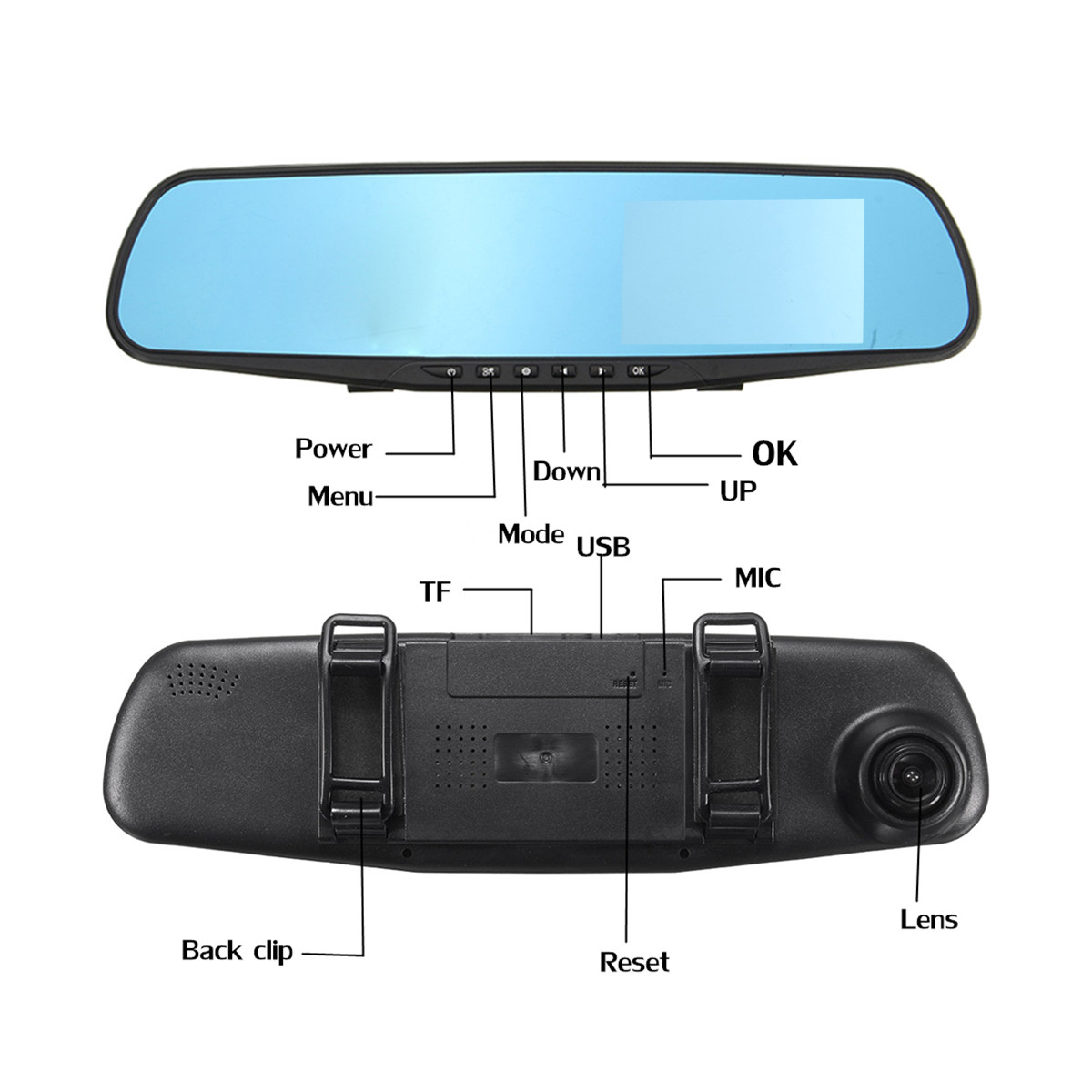 4 Inch 1080P HD Dual Lens Car DVR Video Recorder Rear View Mirror Reverse Camera Kit