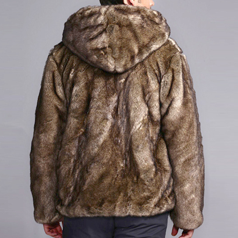 Mens Faux Fur Coats Winter Warm Stylish Hooded Furry Jacket