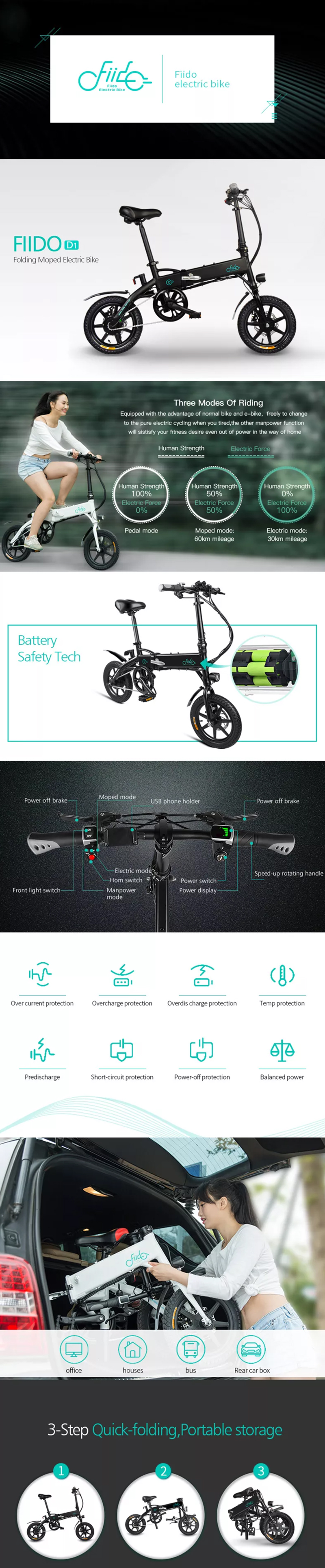 [EU Direct] FIIDO D1 36V 250W 7.8Ah 14 Inches Folding Moped Bicycle 25km/h Max 60KM Mileage Electric Bike