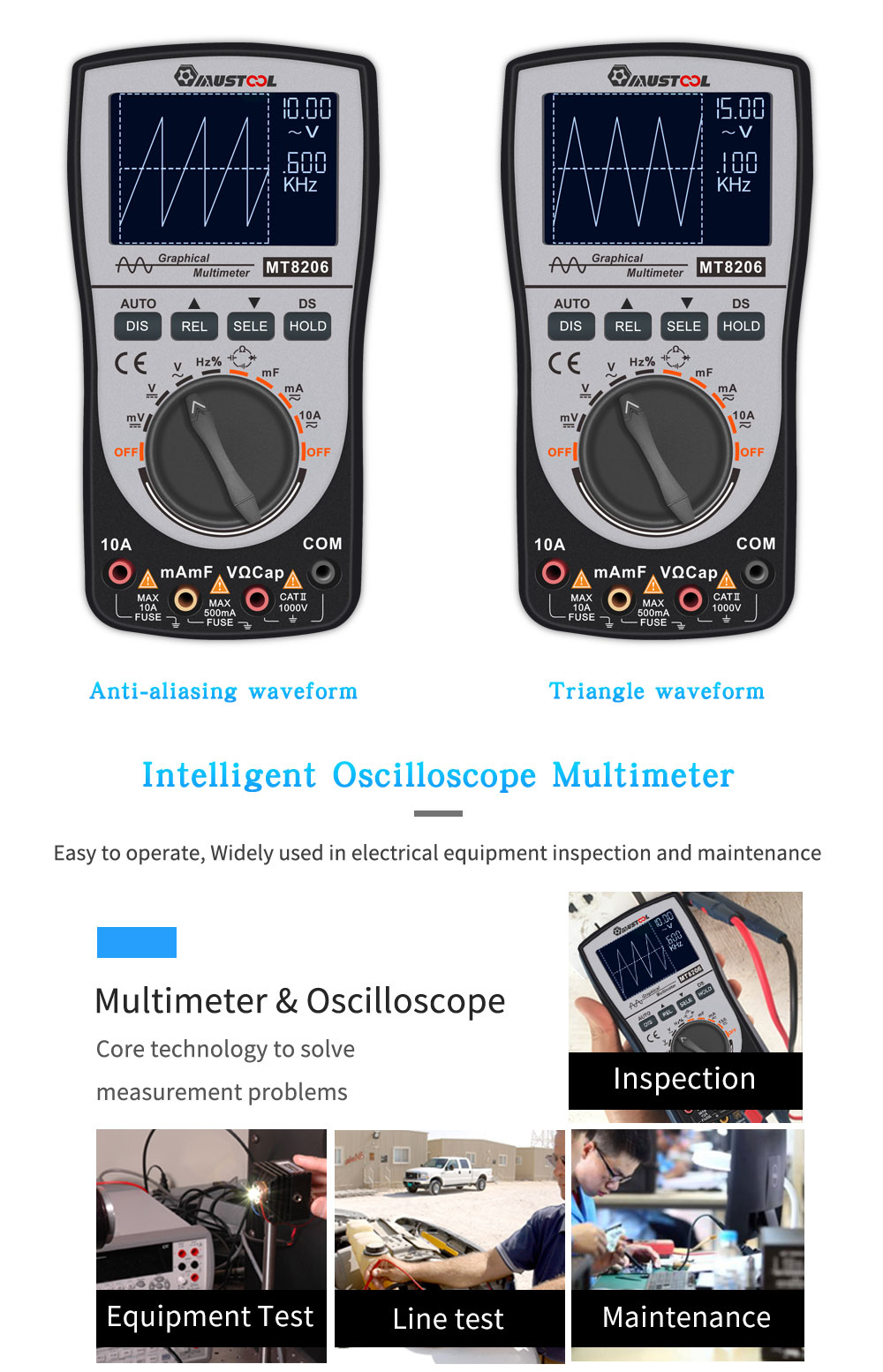 MUSTOOL MT8206 2 in 1 Intelligent Digital Oscilloscope Multimeter AC/DC Current Voltage Resistance Frequency Diode Tester with Analog Bar Graph