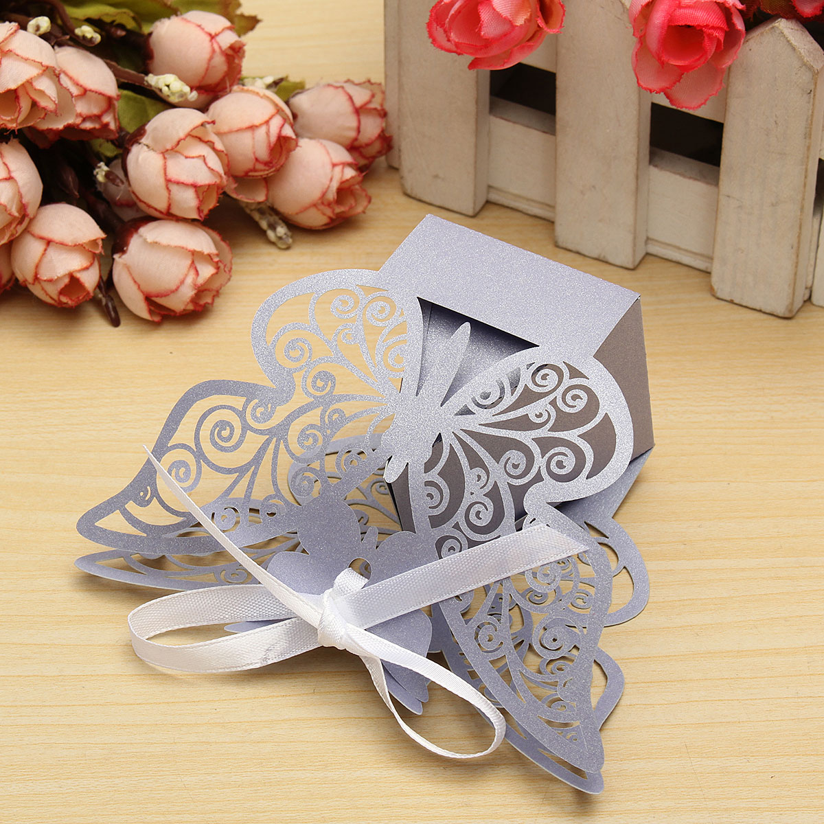 10 Pcs Butterfly Lace Hollow Out Paper Candy Boxes Wedding Favors Sweets Bags Table Decoration
