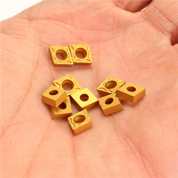 Drillpro 10pcs CCMT060204-HM YBC251 Carbide Insert Titanium Coated Carbide Cutter