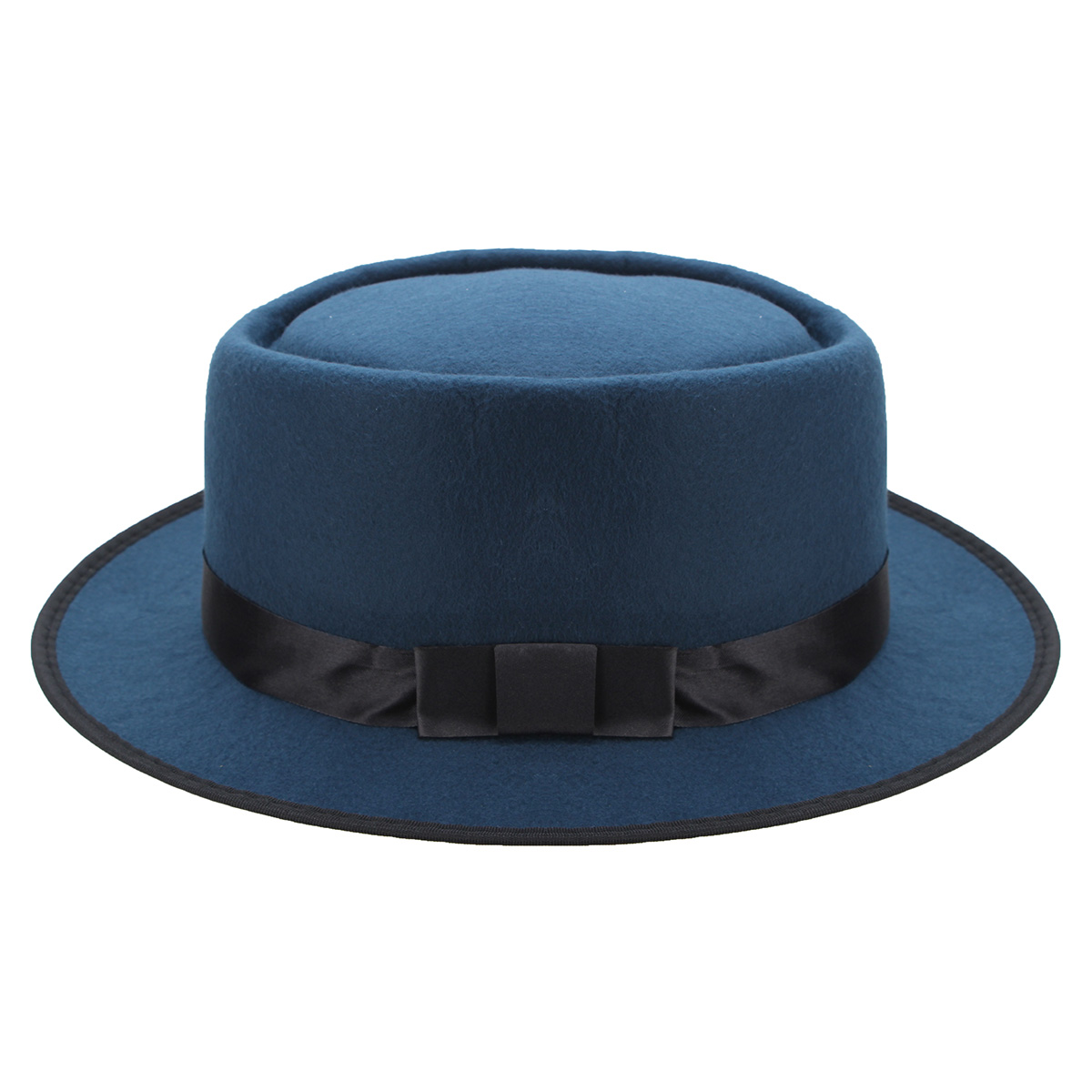 Men Women Porkpie Pork Pie Hats Fedora Upturn Short Brim Black Ribbon Band Caps