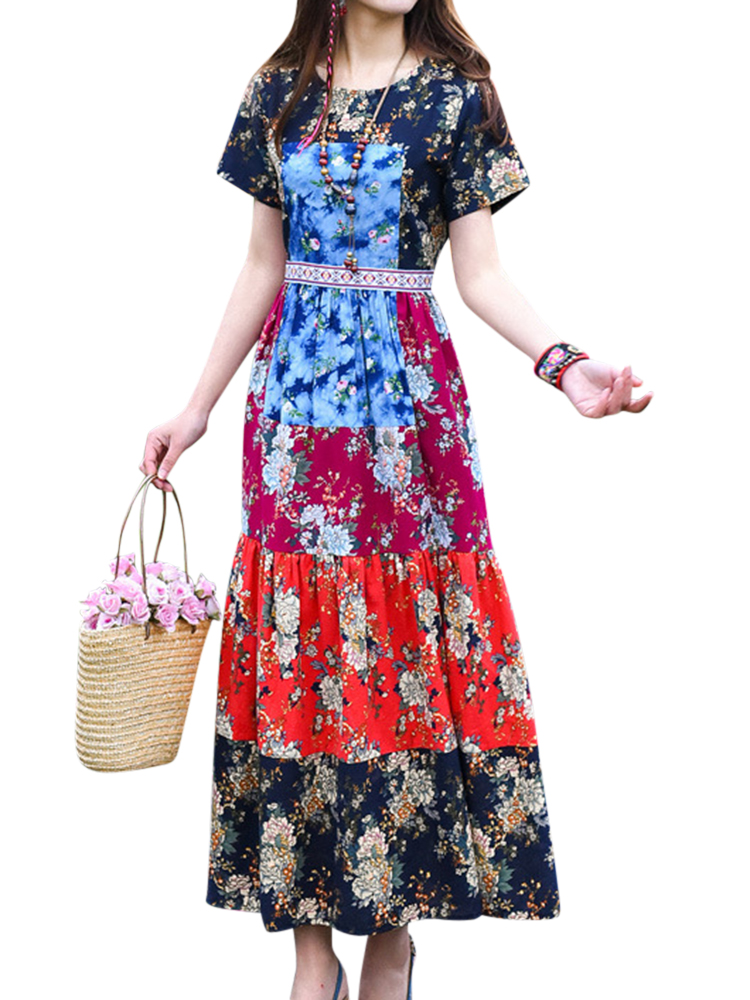 Ethnic Women Contrast Color Patchwork Printed Dresses