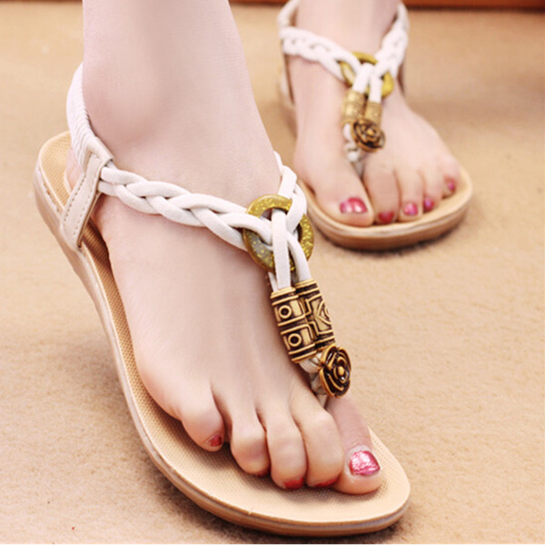 Summer Women Comfortable Beach Fashion Flat Shoes Heel T Strap Flip Flops Sandals Shoes