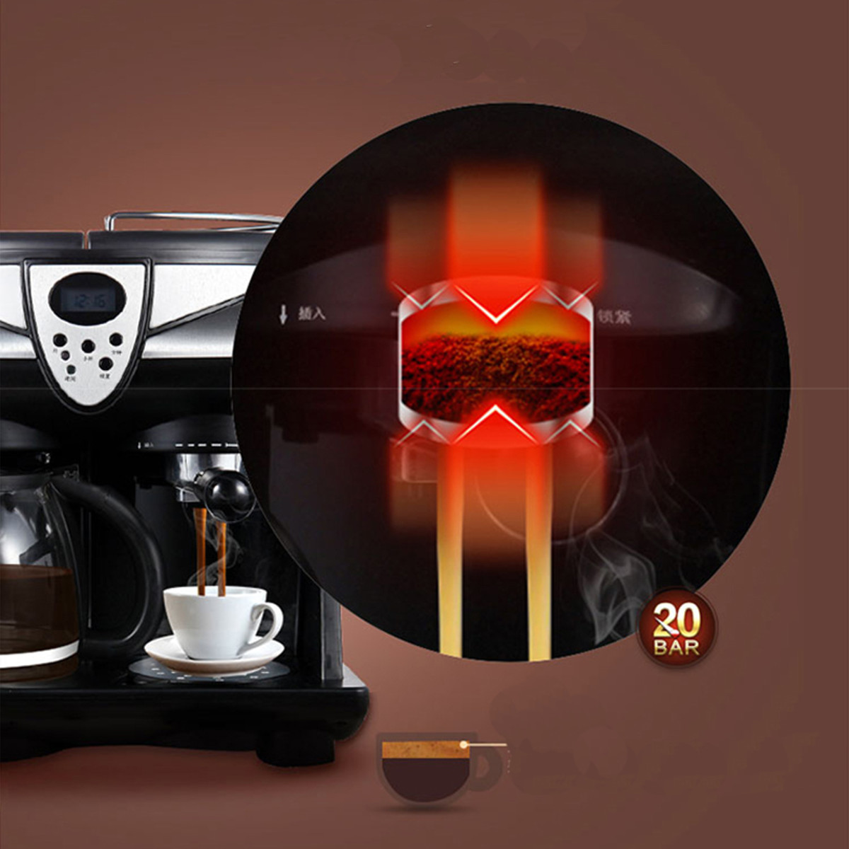 Donlim DL-KF7001 Espresso Coffee Machine Consumer and Commercial Automatic Steam Milk Coffee Maker