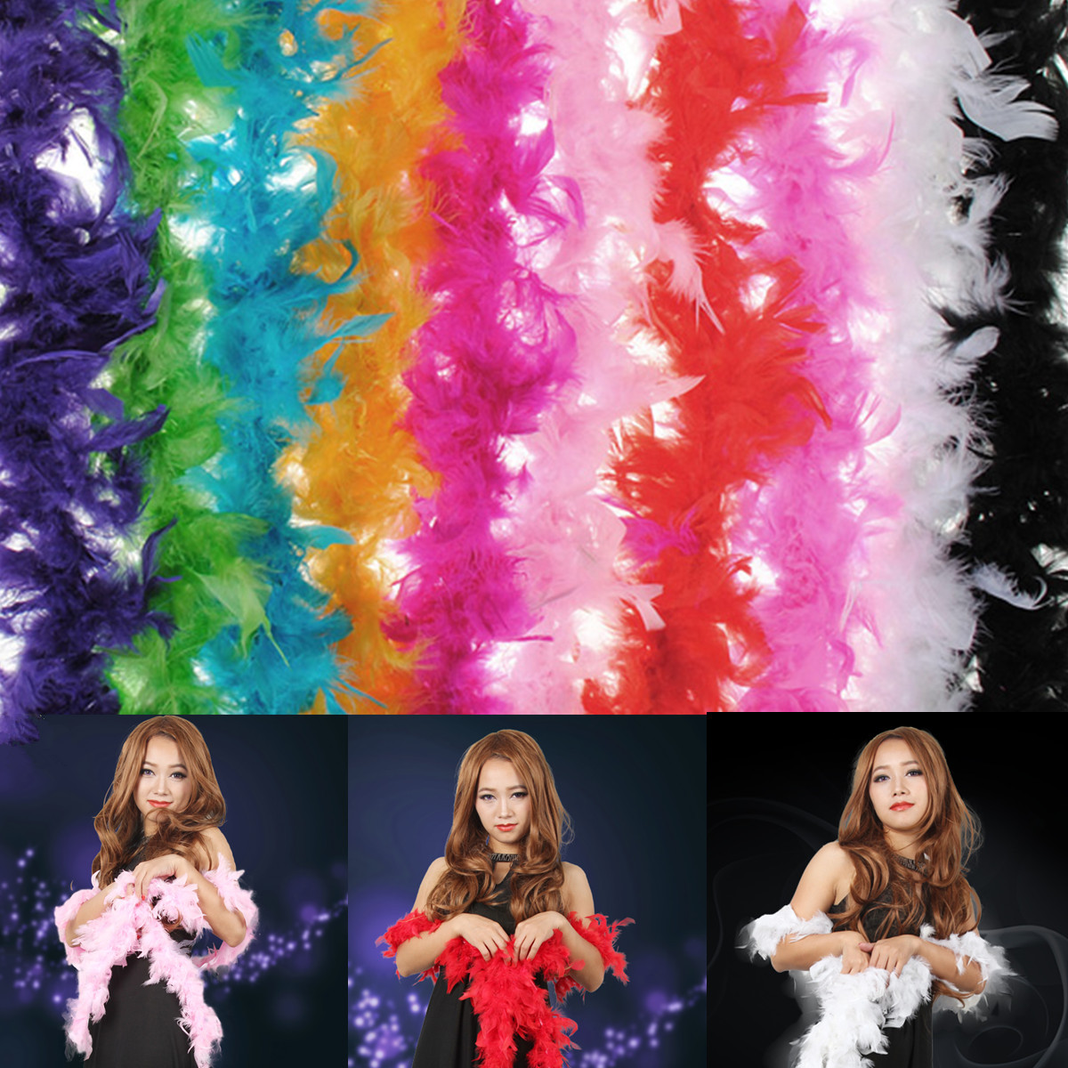 Costume Fluffy Feather Boa Hen Night Party Wedding Dres