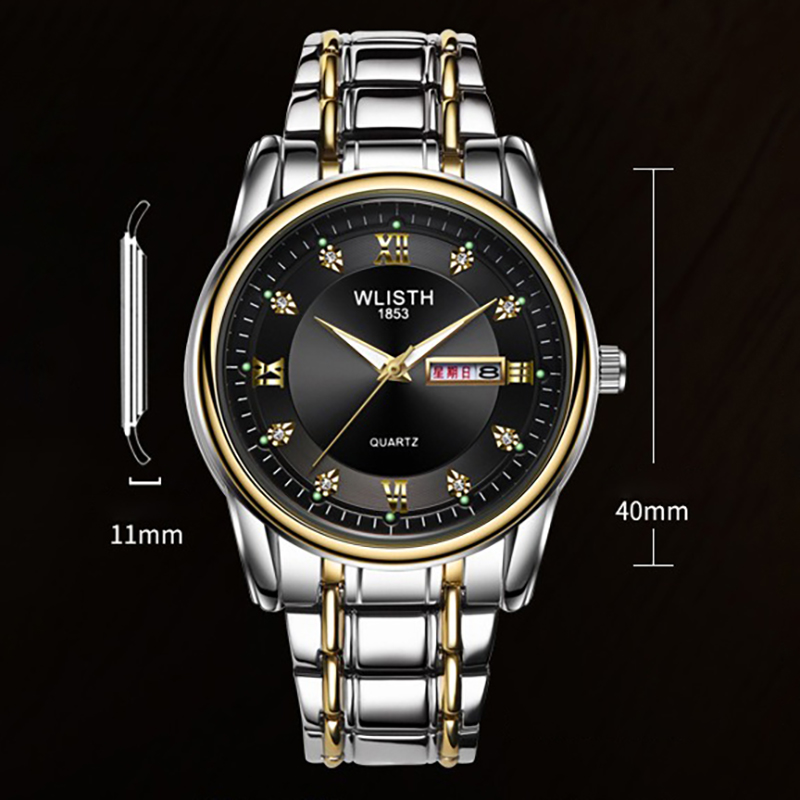 WLISTH Business Luminous Men Full Steel Belt Quartz Watch