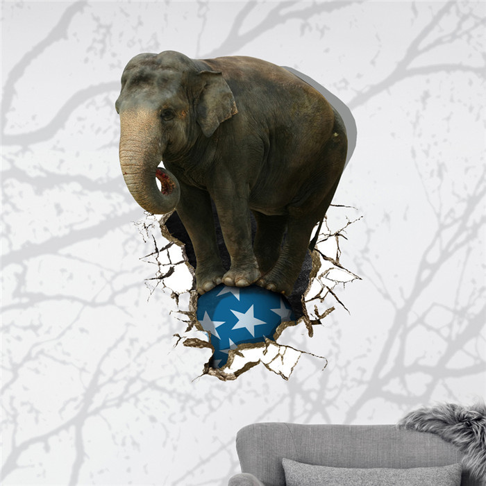 Elephant Ball 3D Wall Decal PAG STICKER Removable Wall Art Animal Stickers Home Decor Gift