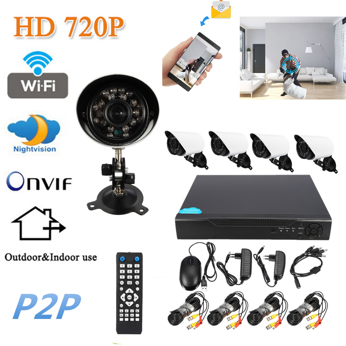 4CH 720P Wireless AHD CCTV Security Camera Outdoor Night Vision Camera System