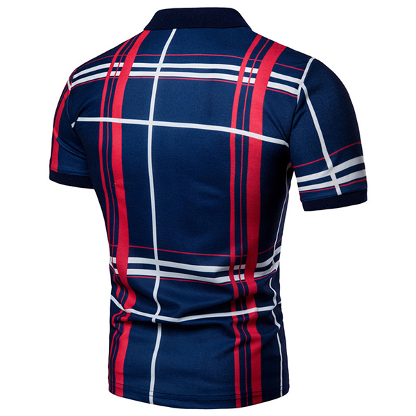 Casual Men's Mix Color Plaid Golf Shirt