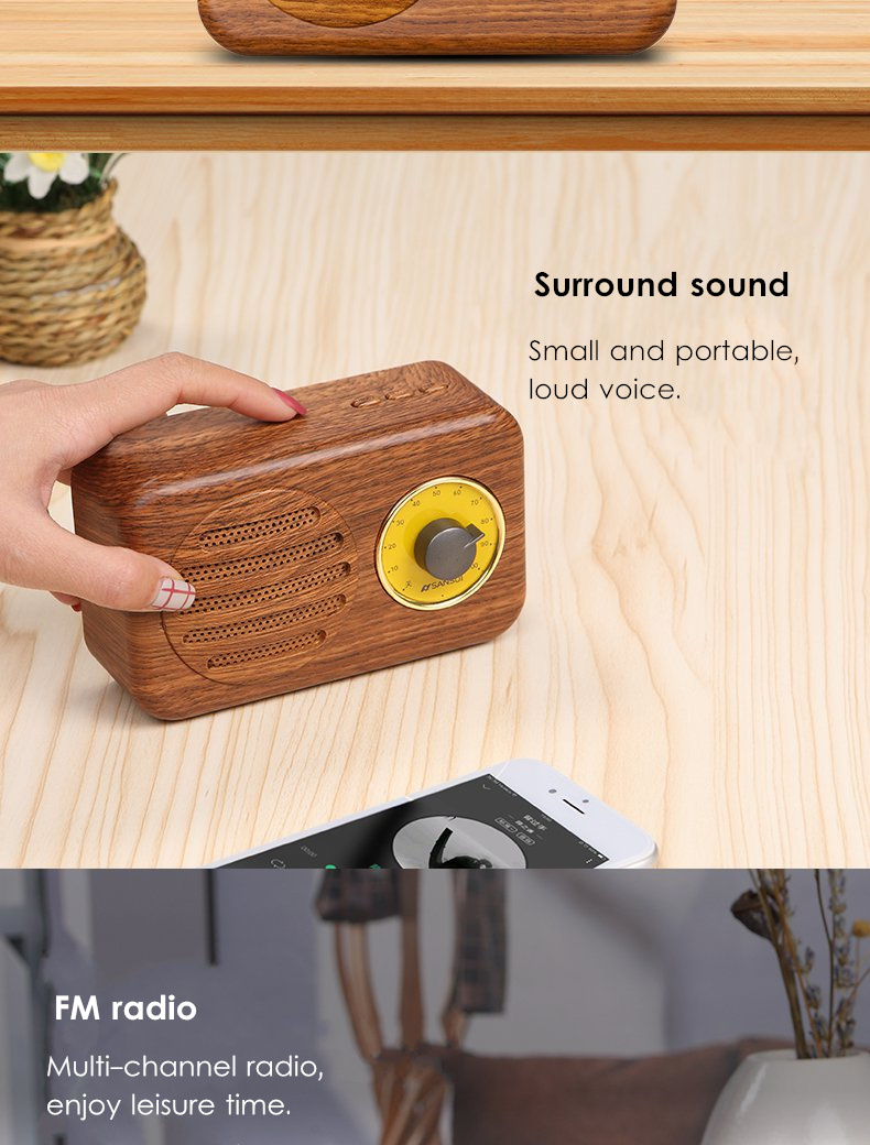 Sansui T1 Mini Portable Bamboo Wood Wireless bluetooth Speaker FM Radio TF Card Stereo Subwoofer