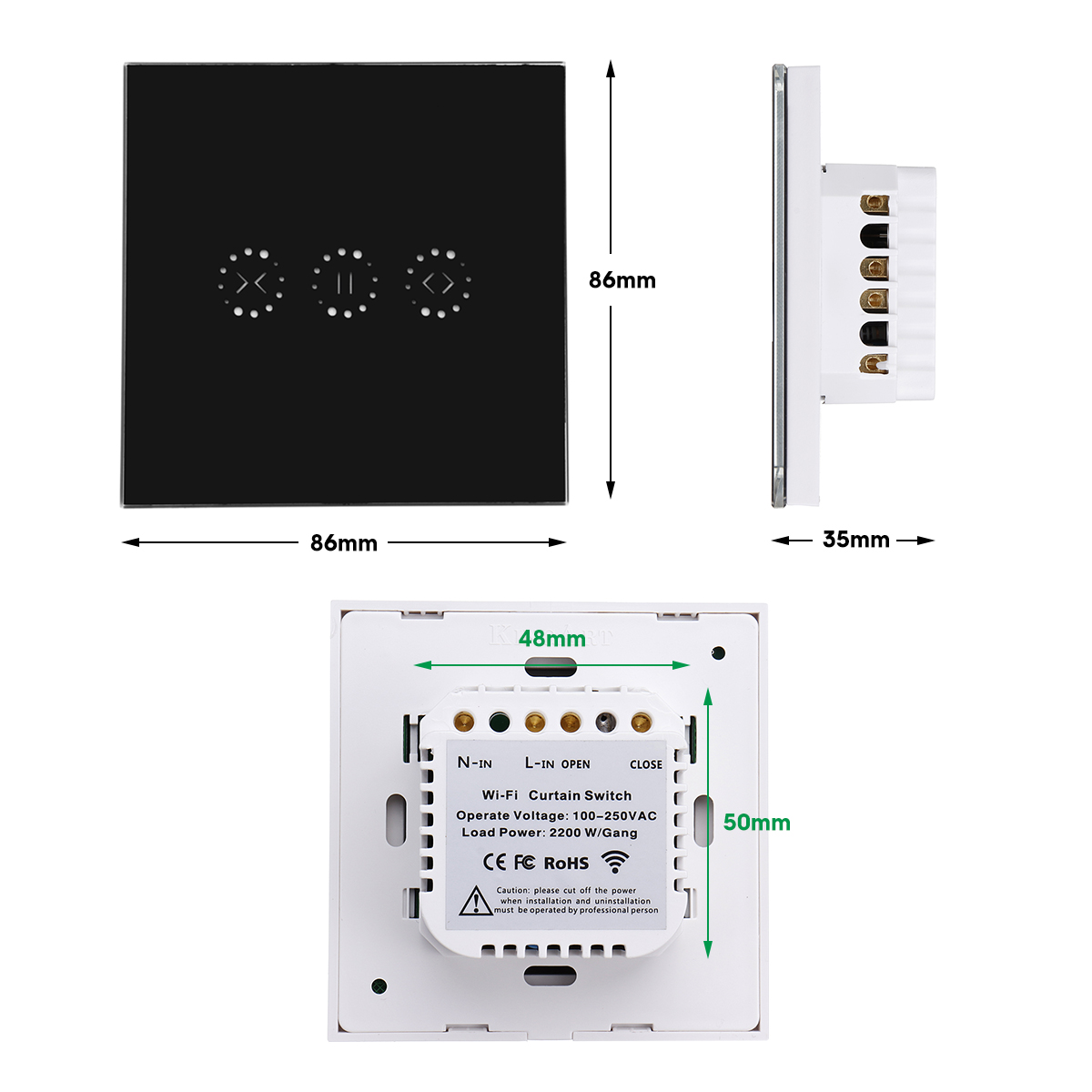 WiFi Curtain Switch Smart WiFi Touch Panel Smart Switch Door Wall Touch Remote Control For Roller Shutter Electric Curtains