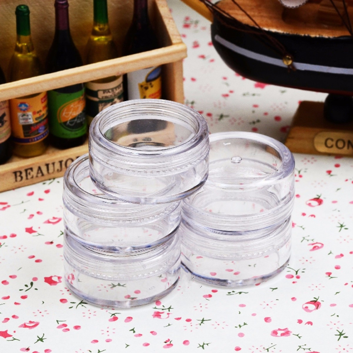 50Pcs 5mL Clear Empty Plastic Jar Round Pot Small Container w/ Lid for Cosmetic Lab Sample