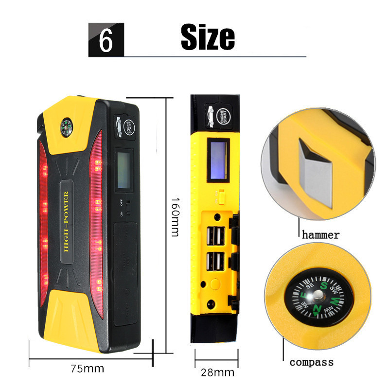 82800mah 4 USB Jump Power Bank Portable Starter Pack Booster Battery Emergency Charger US Plug