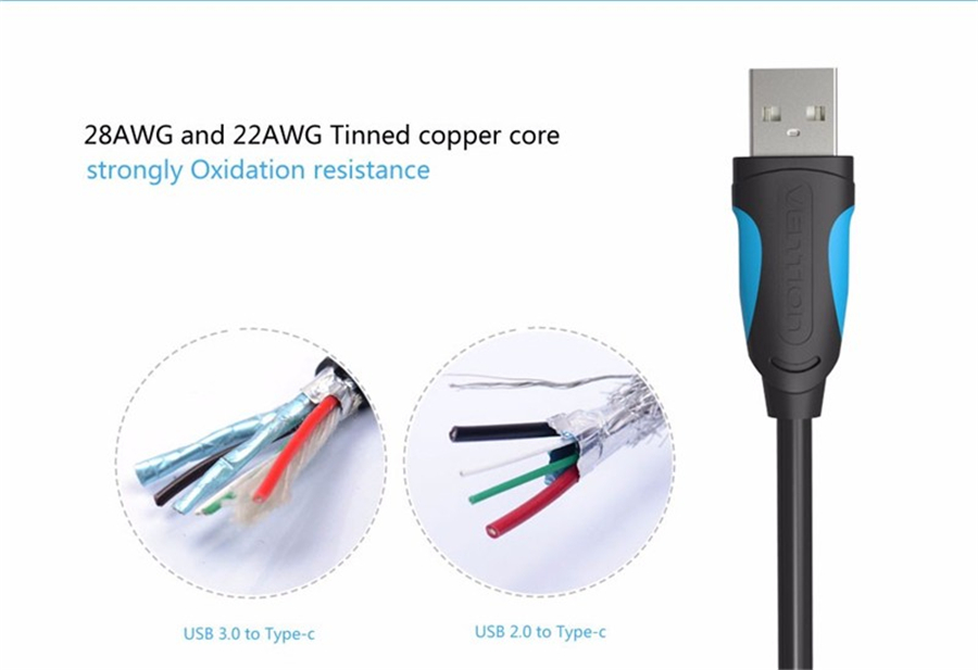 VENTION VAS-A37 2M USB 3.0 To Type-C Charging Data Cable For HUAWEI Xiaomi MacBook Pro