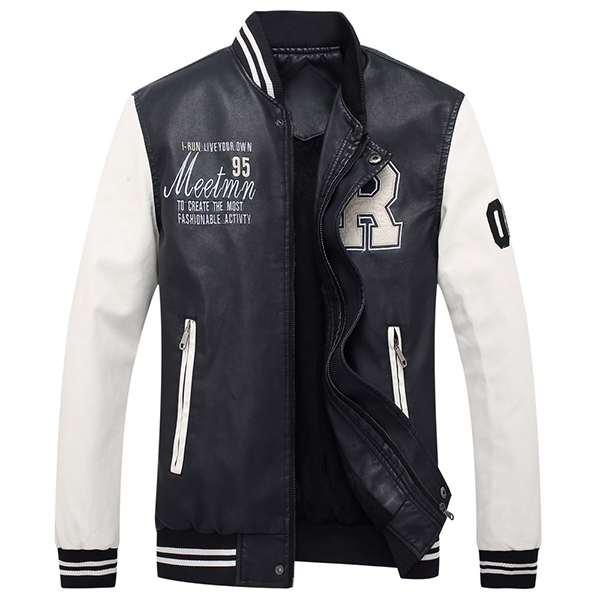 Varsity Jacket Fleece Patchwork Zipper Casual Faux Leather
