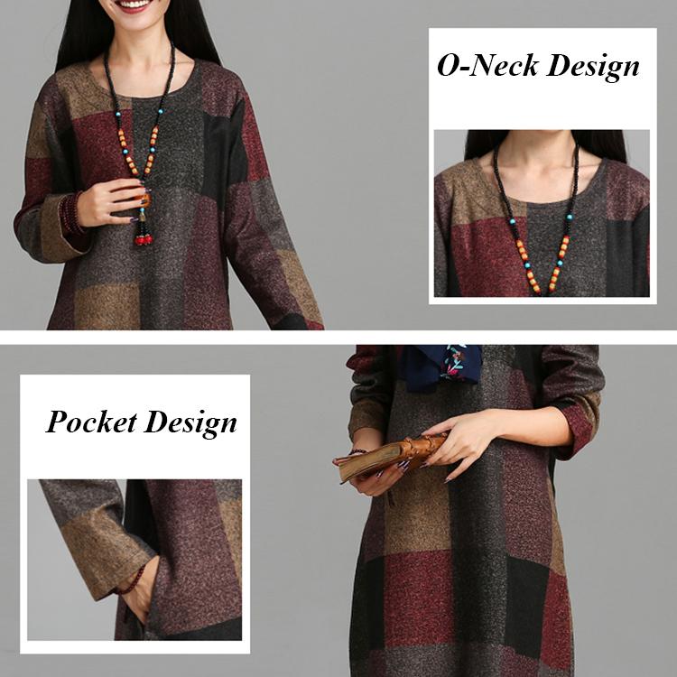 M-5XL Casual Women Plaid Long Sleeve Pocket Midi Dress