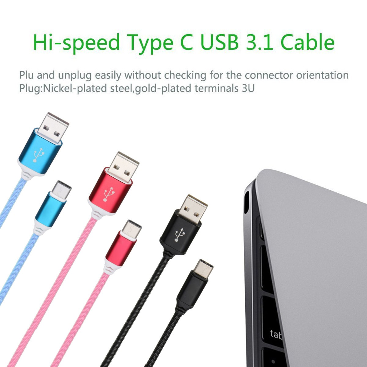 Reversible USB 3.1 Type C Male to USB 2.0 Male Data Cable For Smartphone Tablet