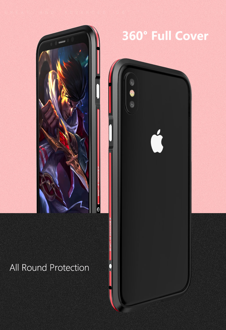 Luphie Metal Bumper+PC Back Cover Protective Case For iPhone X