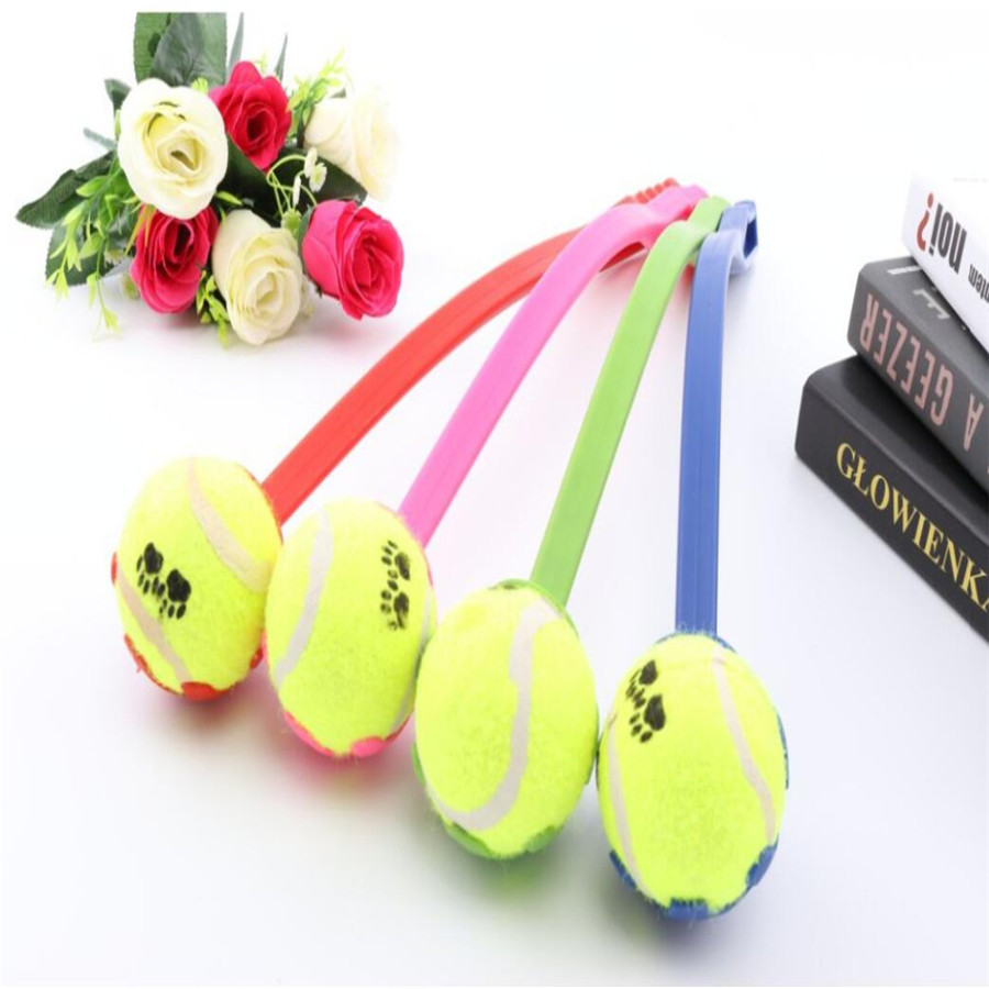 Dog Throw Tennis Ball Toy With Handle Pet Puppy Interactive Playing Pet Toys
