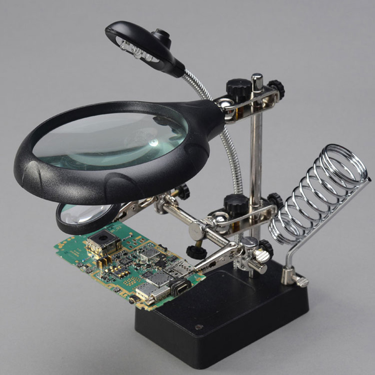 Soldering Iron Stand Clamp Holder Magnifying Lens Magnifier with 5 LED Light