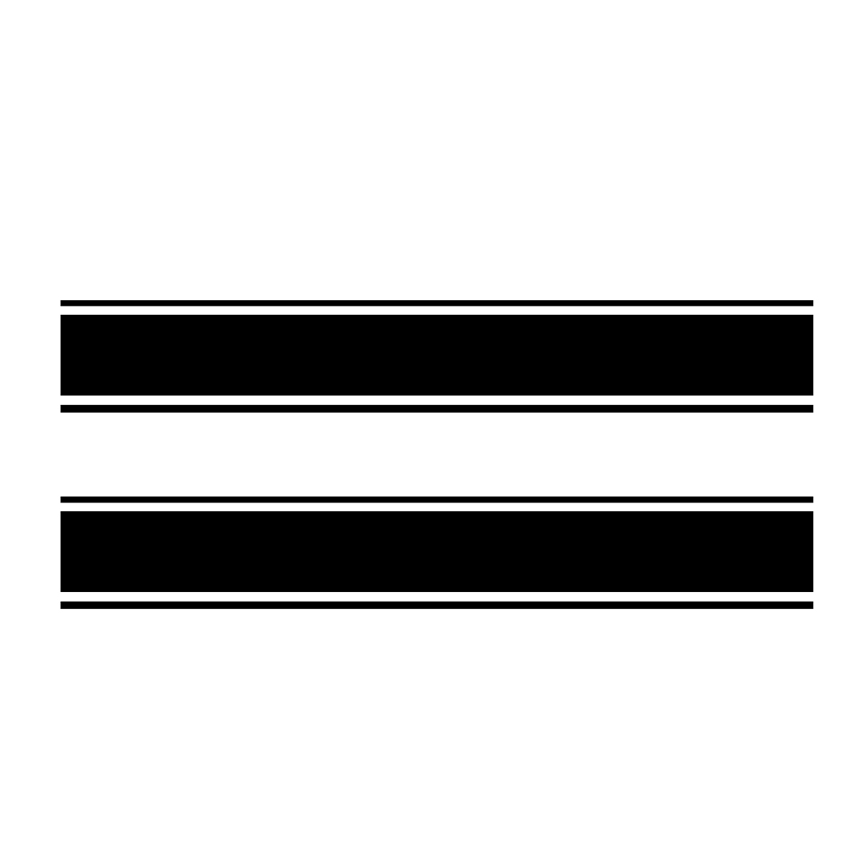 3Pcs Black Racing Car Vinyl Stripe Decal Stickers for Cover Roof Trunk Side Doors