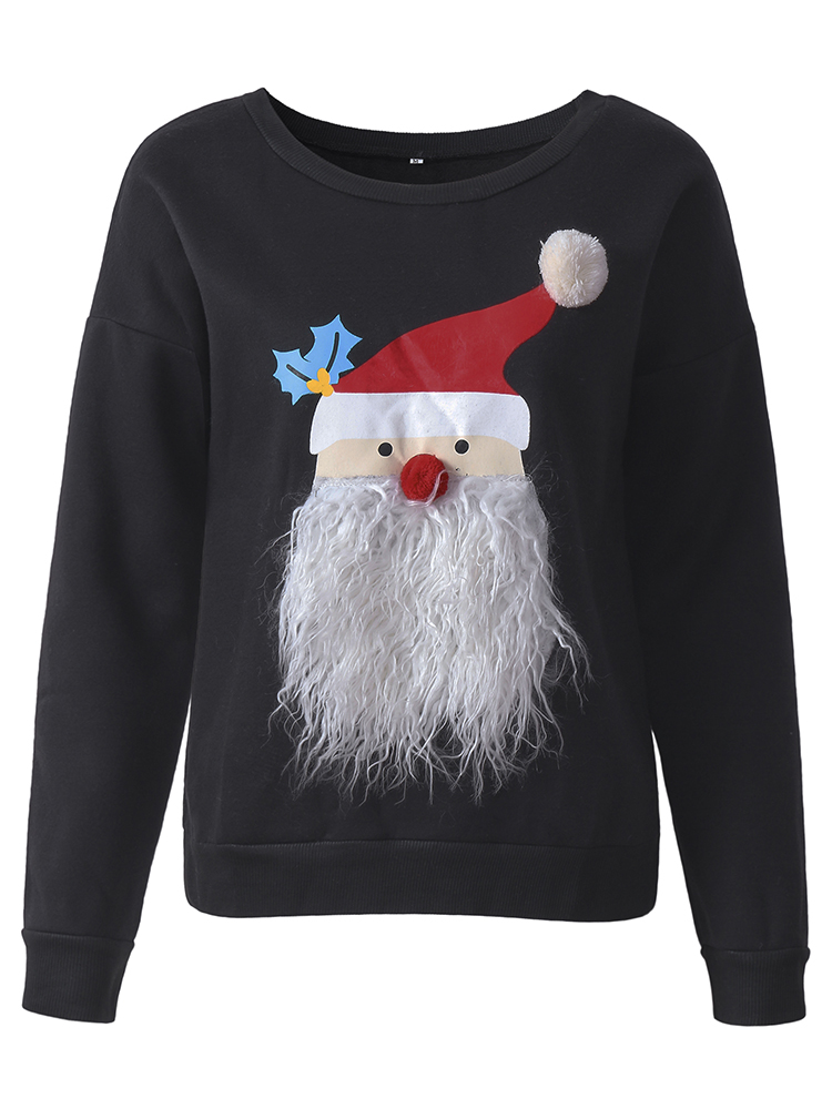 Christmas Women Cute Santa Claus Pattern Thick Pullover Sweatshirt