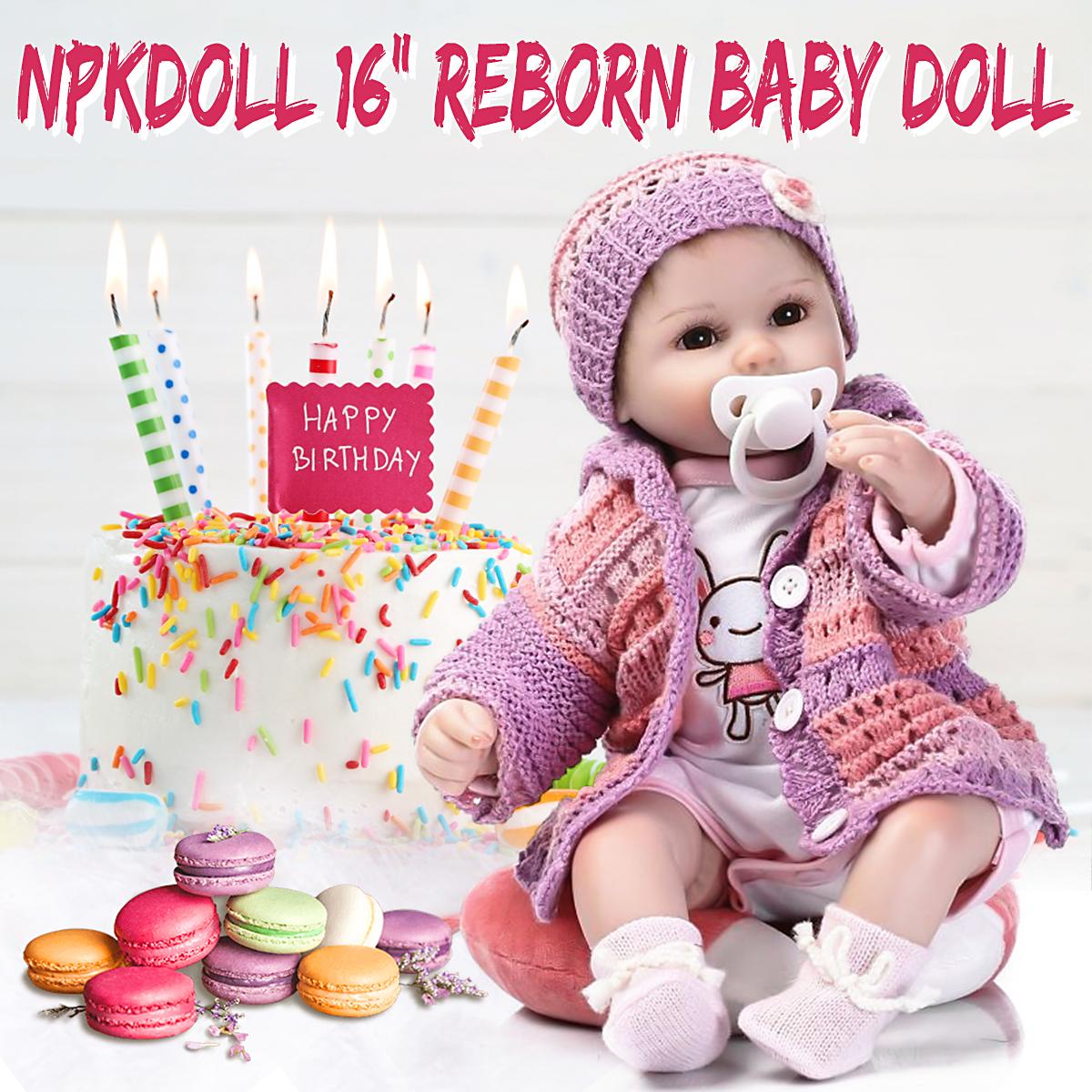Realistic 40cm Newborn Handmade Lifelike Newborn Baby Doll Reborn Soft Silicone Vinyl Hair Rooted Gift for Girl