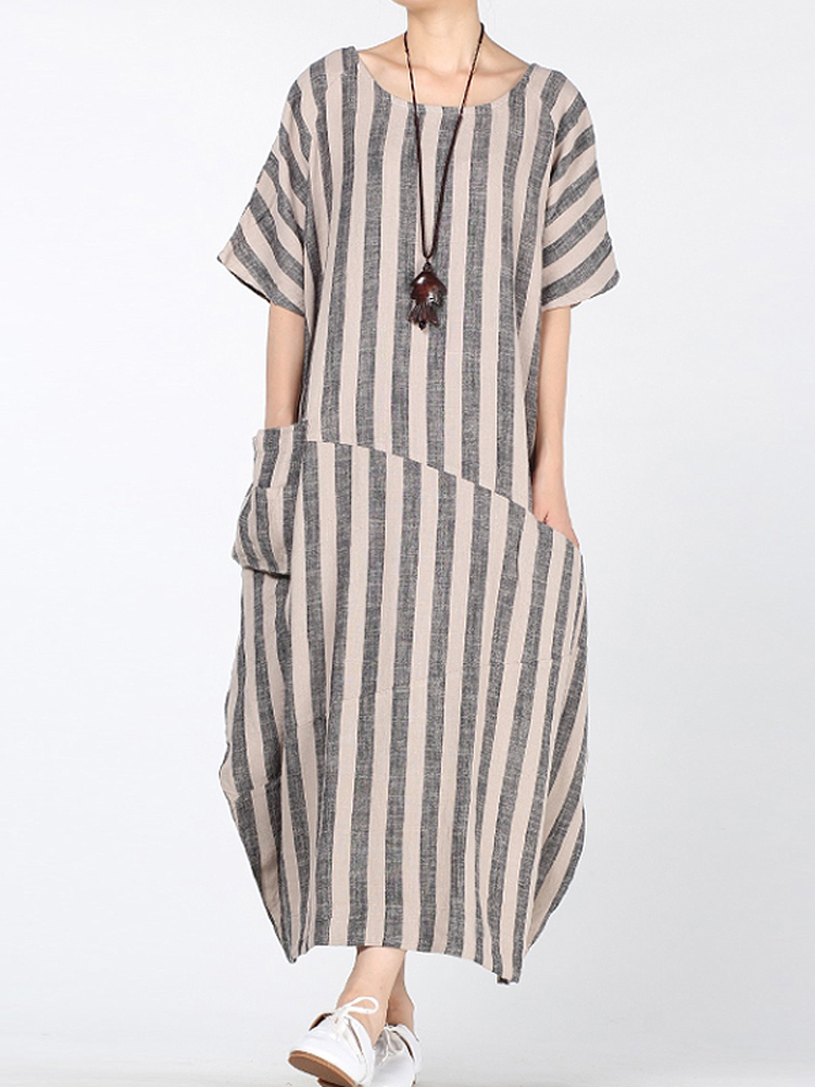 Women Stripe Short Sleeve Loose Baggy Dress