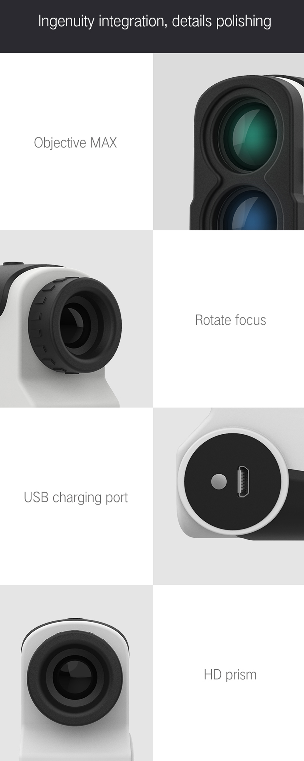[FROM XIAOMI YOUPIN] DUKA DKW-S Hunting Rangefinder 800m/1200m/1500 Yards 6X Magnification HD View USB Rechargeable Laser Range Finder Speed Measurement