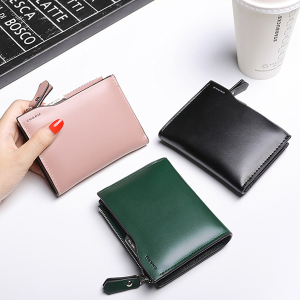 Women Pure Color Simple Purses Card Holders