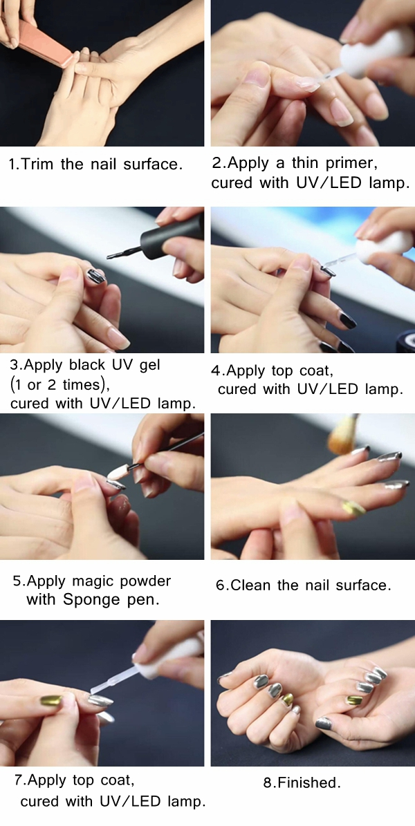 Holographic Laser Nail Art Powder Holo Effect DIY Powders Silver ...