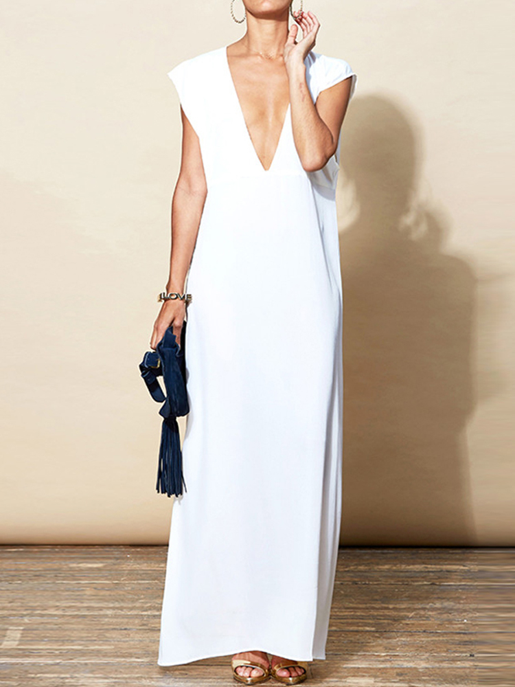 Women Deep V Neck Sleeveless Party Long Maxi Dress