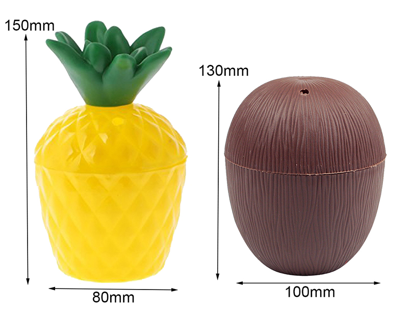 6 Pcs Plastic Cup Fruit Shape Drink Cups Pineapple Coconut Cup Camping Portable Drink Containers