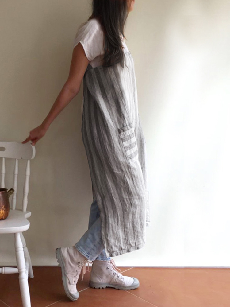 Japanese Stripe Cotton Pinafore Aprons Dress with Pockets
