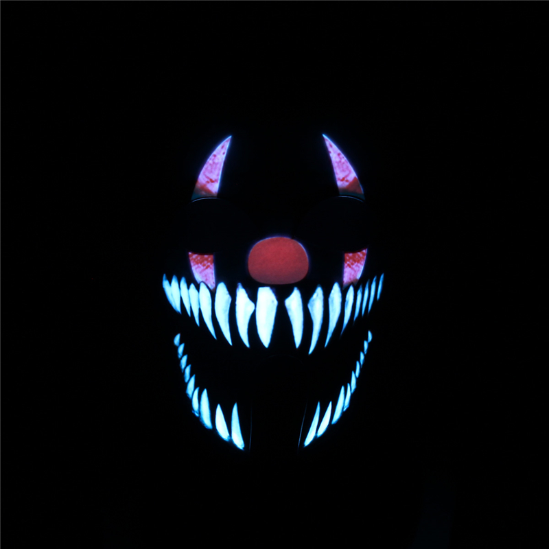 BIKIGHT Face Mask Light Up Flashing Luminous for Outdoor Cycling Halloween Party Costume Decoration