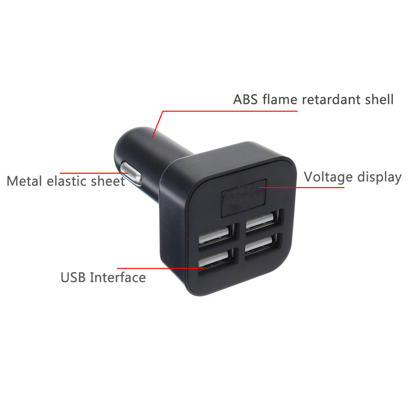 Car Charger Quick Charge 3.1A 4USB Smart Charging for iPhone Samsung Tablet