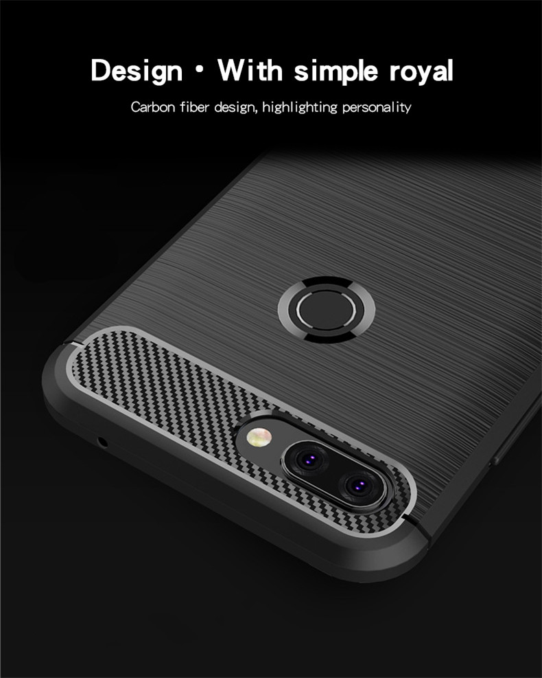 Mofi Carbon Fiber Shockproof Silicone Back Cover Protective Case for Xiaomi Mi8 Mi 8 Lite