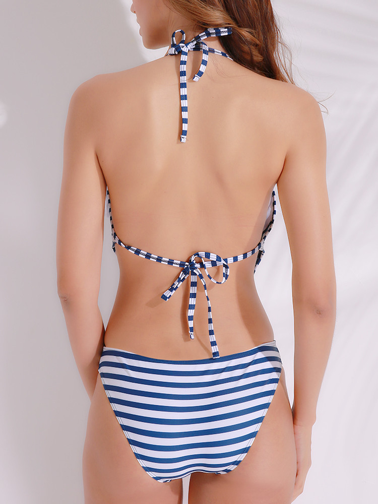 Tassel Striped Lace-up Halter Stripe V Neck Monokinis