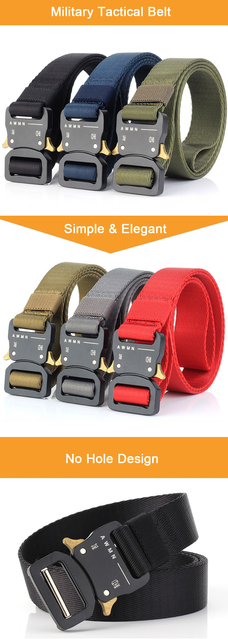 AWMN S04 3.2cm 125cm Nylon Belts Quick Release Inserting Buckle Military Tactical Belt Leisure Belt