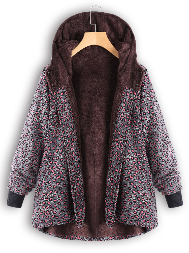 Casual Leopard Print Fleece Thicken Hooded Coats