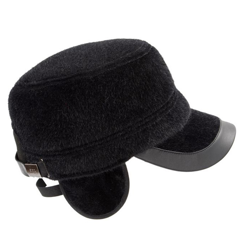 Men Cotton Middle-Aged Military Style Flat Top Cadet Hat