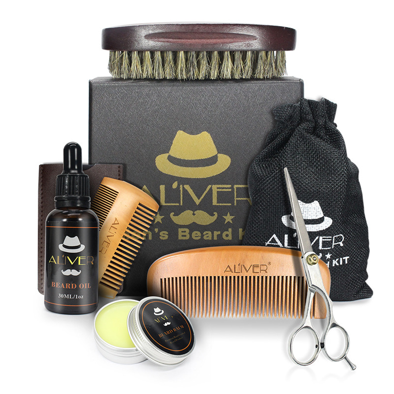1 Set X Beard Balm Shaving Kit Mustache Oil Brush Scissors