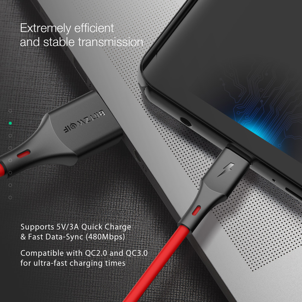 BlitzWolf® BW-TC14 3A USB Type-C Charging Data Cable 3ft/0.91m For Oneplus 6T Xiaomi Mi8 Pocophone f1 S9+